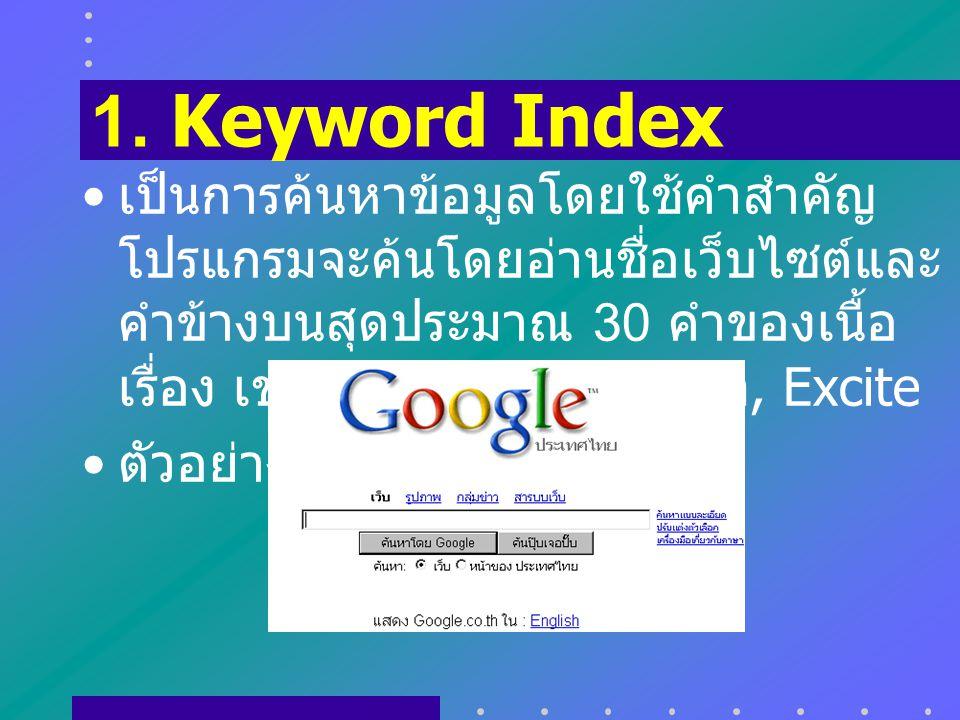 1. Keyword Index