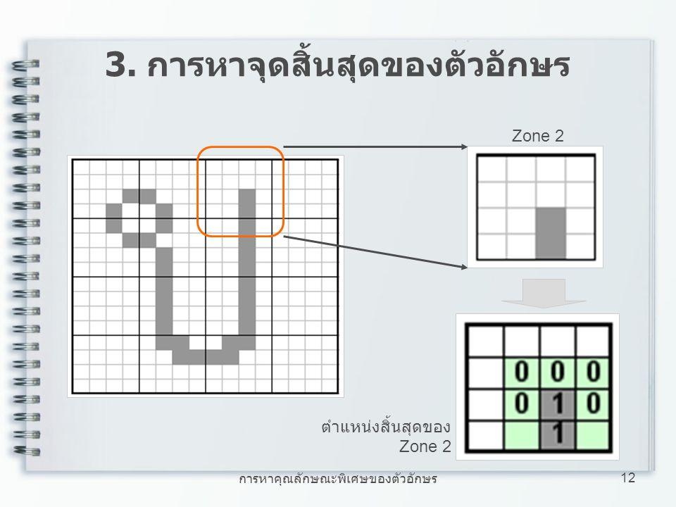 3. การหาจุดสิ้นสุดของตัวอักษร