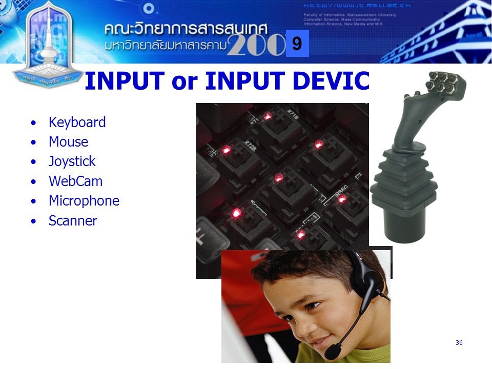 INPUT or INPUT DEVICE Keyboard Mouse Joystick WebCam Microphone
