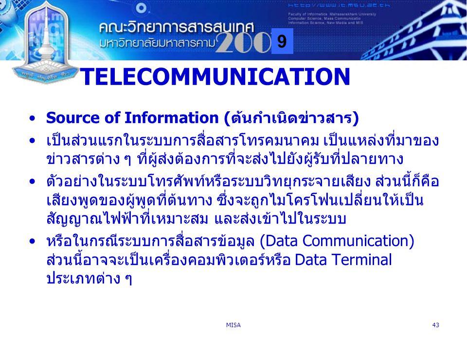 TELECOMMUNICATION Source of Information (ต้นกำเนิดข่าวสาร)