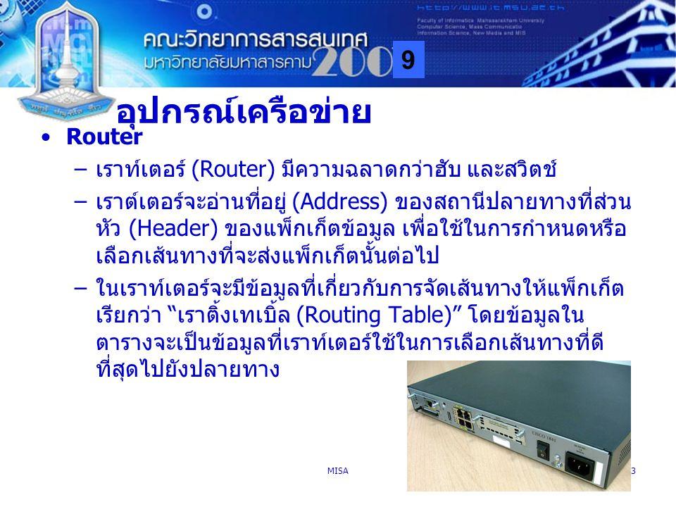อุปกรณ์เครือข่าย Router