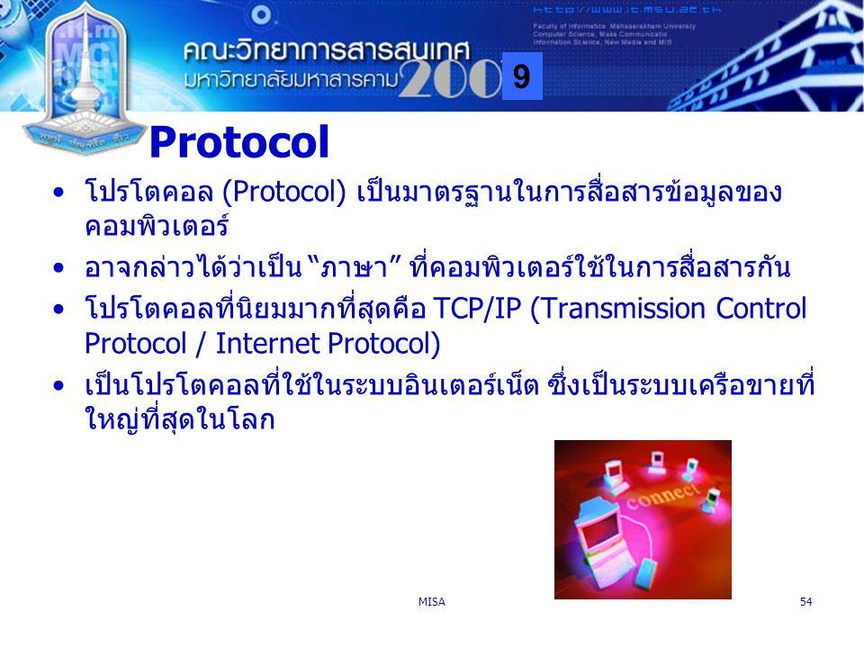 Protocol โปรโตคอล (Protocol) เป็นมาตรฐานในการสื่อสารข้อมูลของคอมพิวเตอร์ อาจกล่าวได้ว่าเป็น ภาษา ที่คอมพิวเตอร์ใช้ในการสื่อสารกัน.