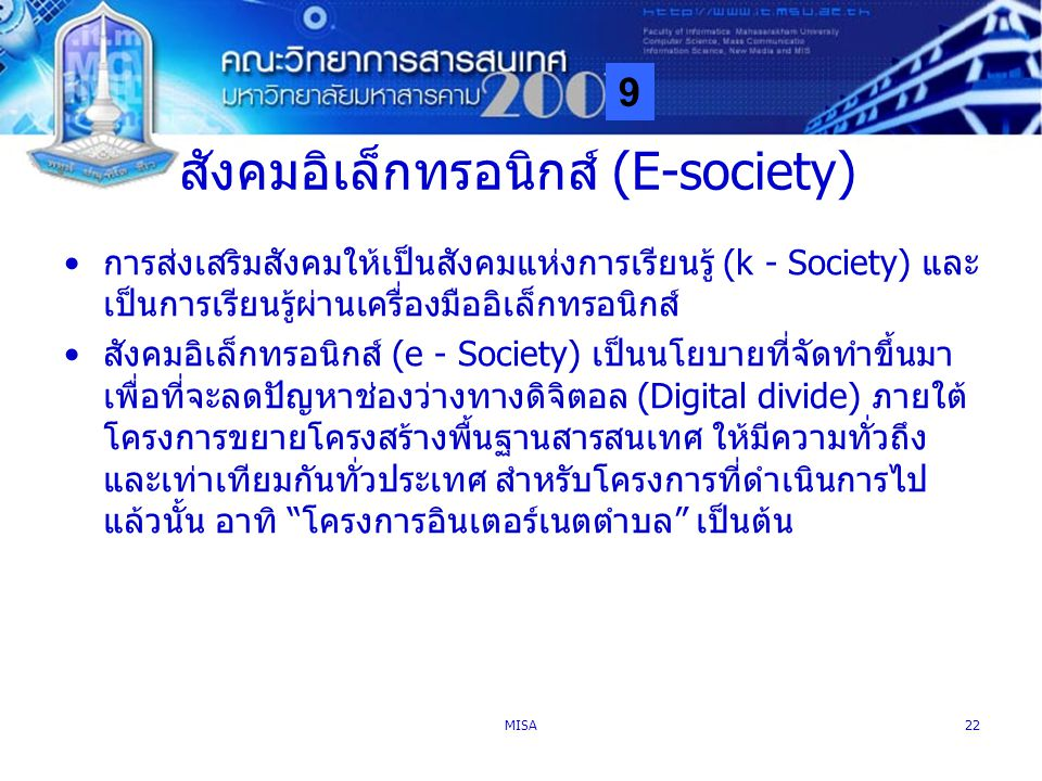 สังคมอิเล็กทรอนิกส์ (E-society)