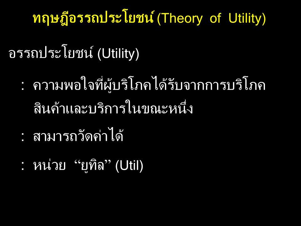 ทฤษฎีอรรถประโยชน์ (Theory of Utility)
