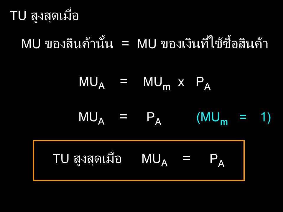 TU สูงสุดเมื่อ MU ของสินค้านั้น = MU ของเงินที่ใช้ซื้อสินค้า. MUA = MUm x PA. MUA = PA.