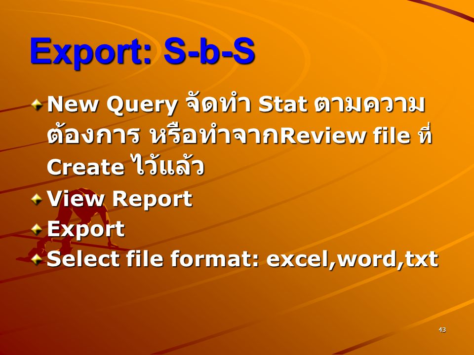Export: S-b-S New Query จัดทำ Stat ตามความต้องการ หรือทำจากReview file ที่ Create ไว้แล้ว. View Report.