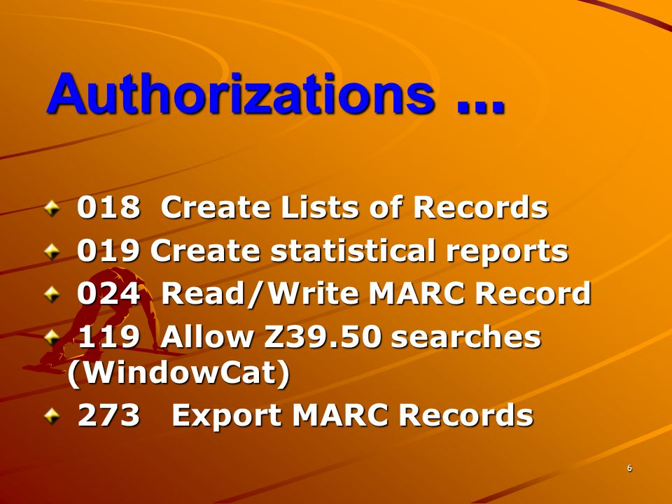 Authorizations ... 018 Create Lists of Records
