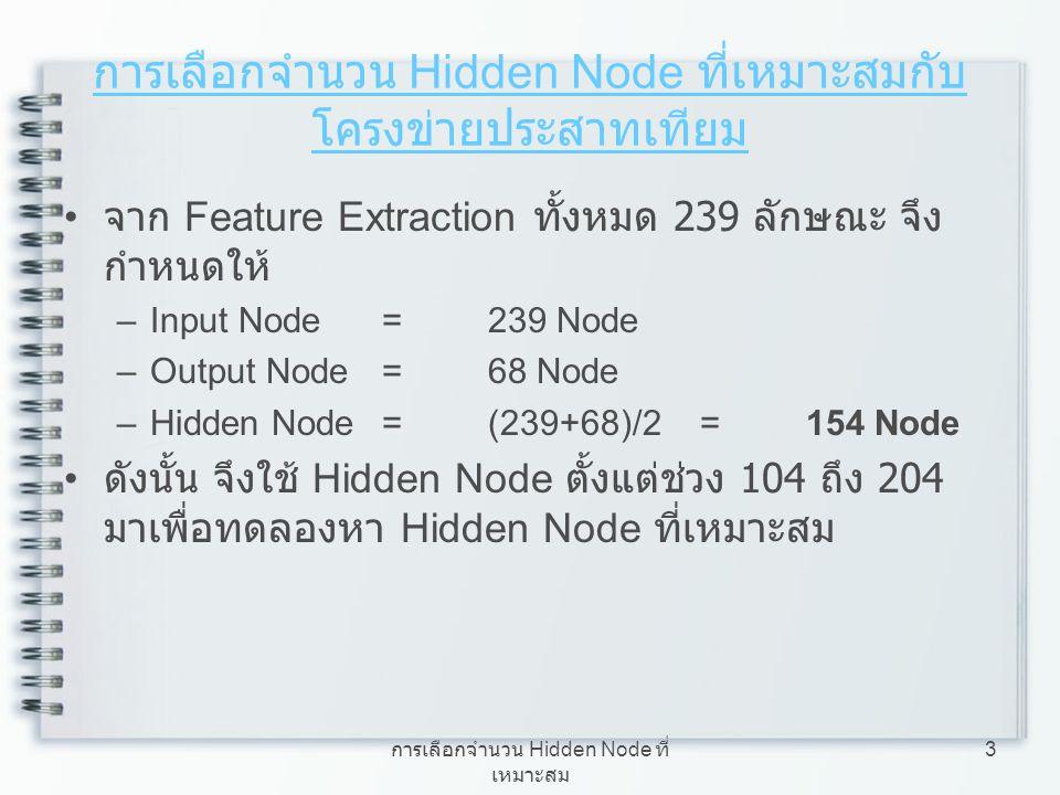 การเลือกจำนวน Hidden Node ที่เหมาะสมกับโครงข่ายประสาทเทียม