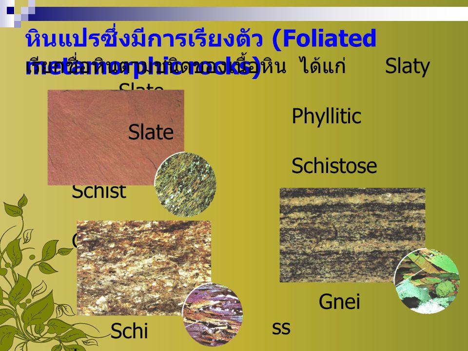 หินแปรซึ่งมีการเรียงตัว (Foliated metamorphic rocks)