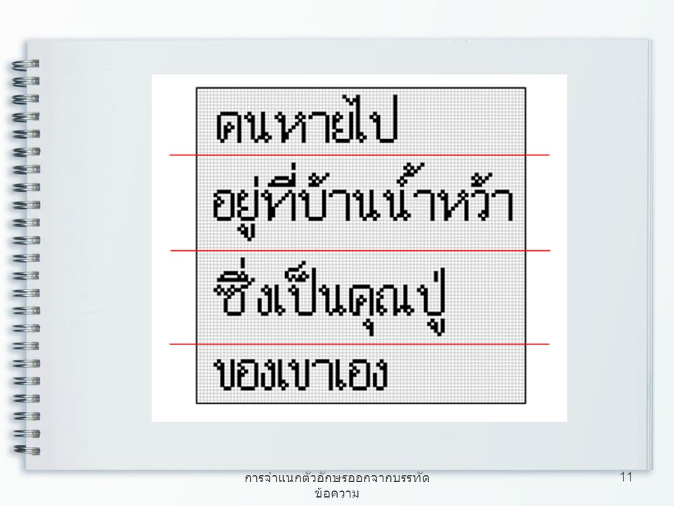การจำแนกตัวอักษรออกจากบรรทัดข้อความ