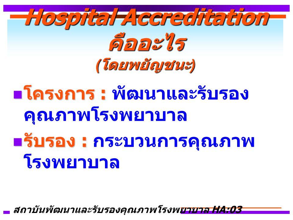 Hospital Accreditation คืออะไร (โดยพยัญชนะ)