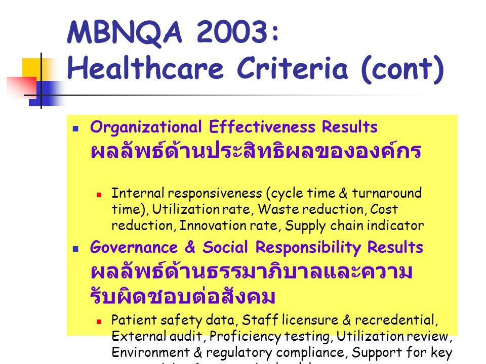 MBNQA 2003: Healthcare Criteria (cont)