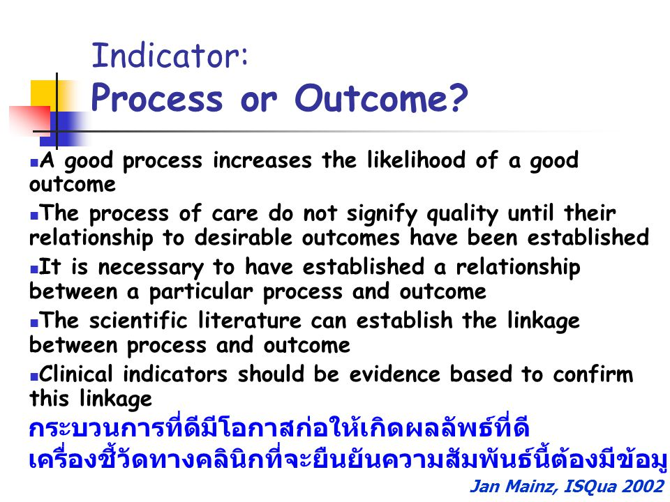 Indicator: Process or Outcome