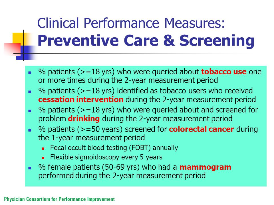 Clinical Performance Measures: Preventive Care & Screening