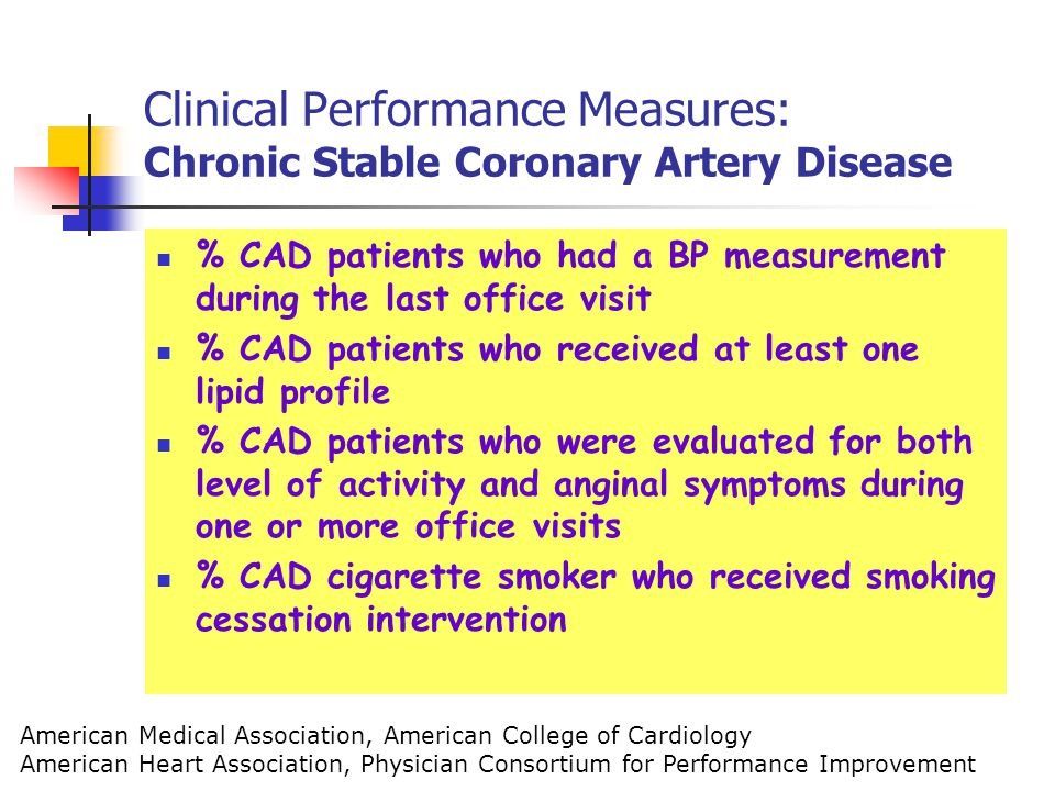Clinical Performance Measures: Chronic Stable Coronary Artery Disease