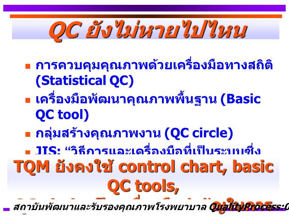 QC ยังไม่หายไปไหน TQM ยังคงใช้ control chart, basic QC tools,