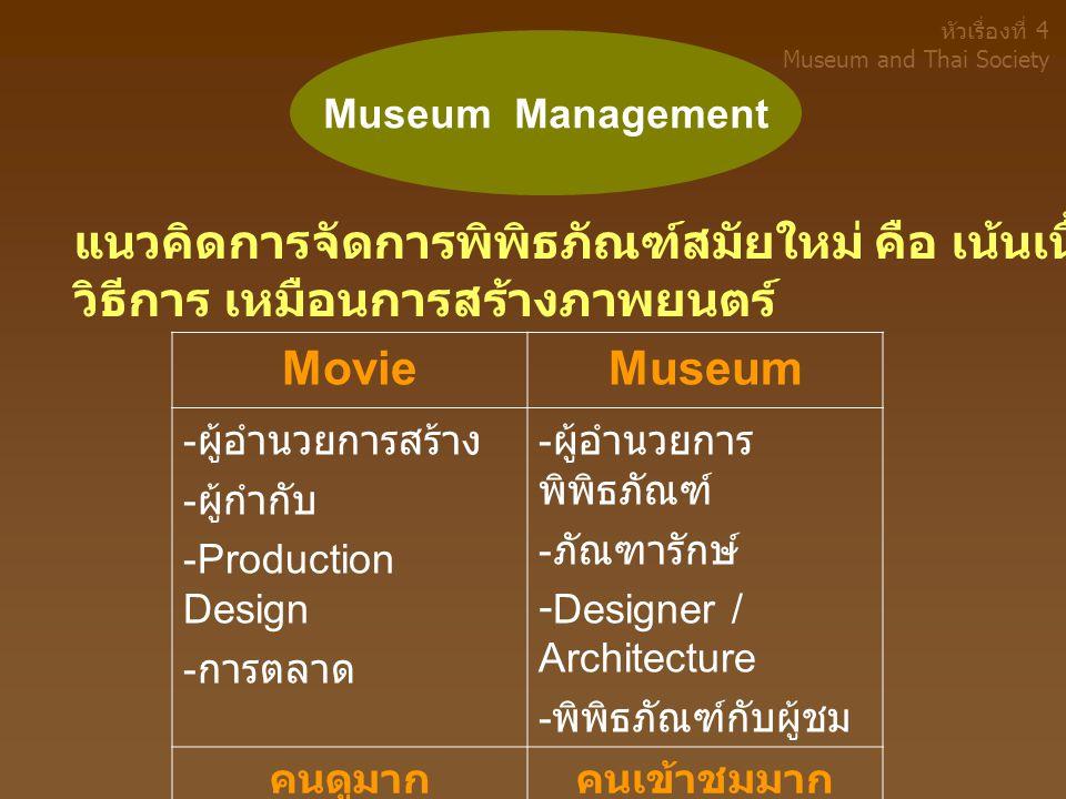 แนวคิดการจัดการพิพิธภัณฑ์สมัยใหม่ คือ เน้นเนื้อหาหรือเรื่องราว