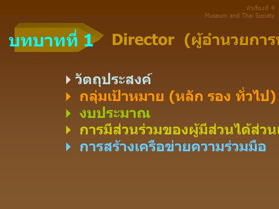 บทบาทที่ 1 Director (ผู้อำนวยการพิพิธภัณฑ์) วัตถุประสงค์