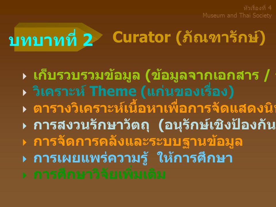 บทบาทที่ 2 Curator (ภัณฑารักษ์)