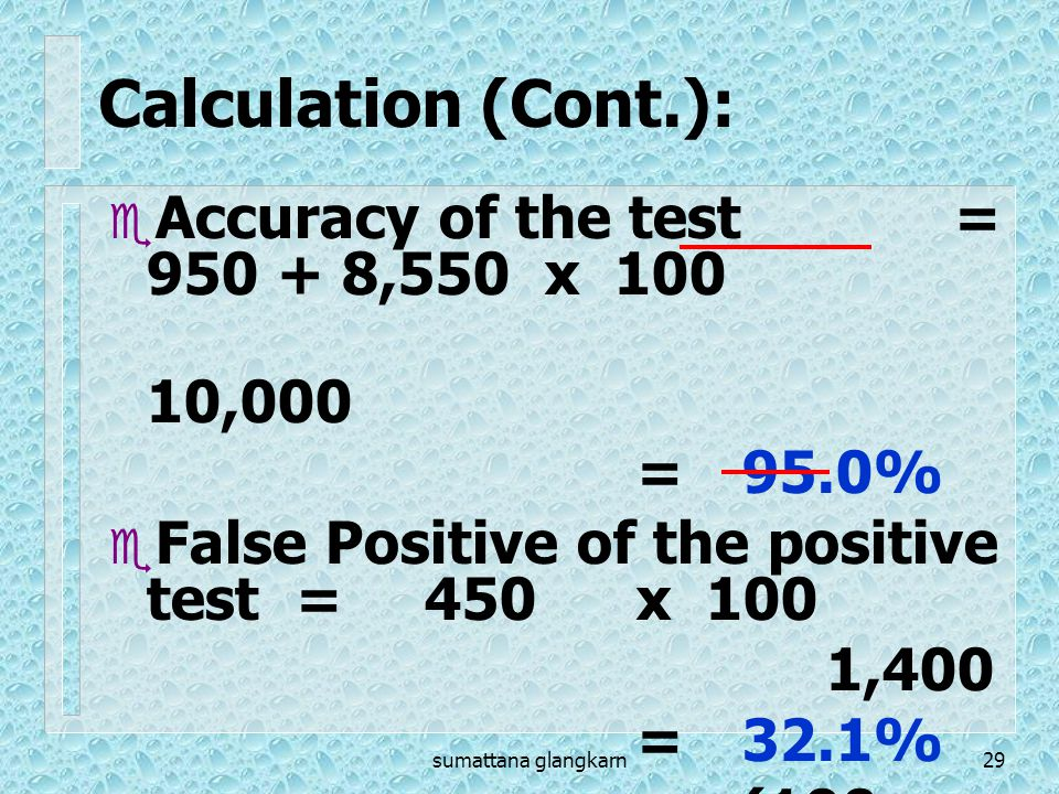 Calculation (Cont.): Accuracy of the test = 950 + 8,550 x 100 10,000
