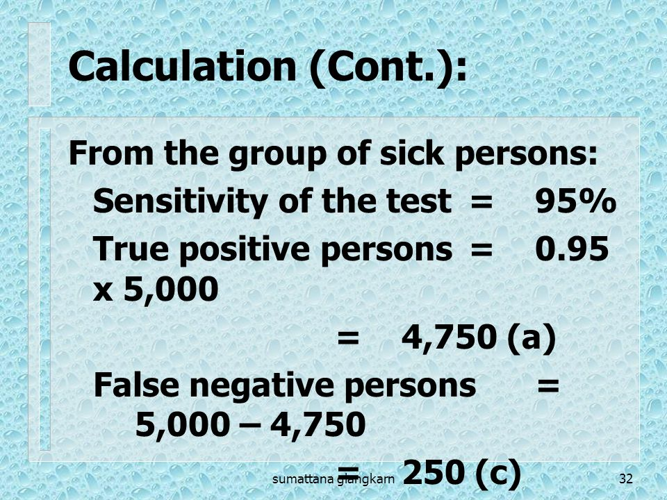 Calculation (Cont.): From the group of sick persons: