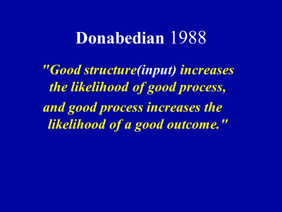 Donabedian 1988 Good structure(input) increases the likelihood of good process, and good process increases the likelihood of a good outcome.