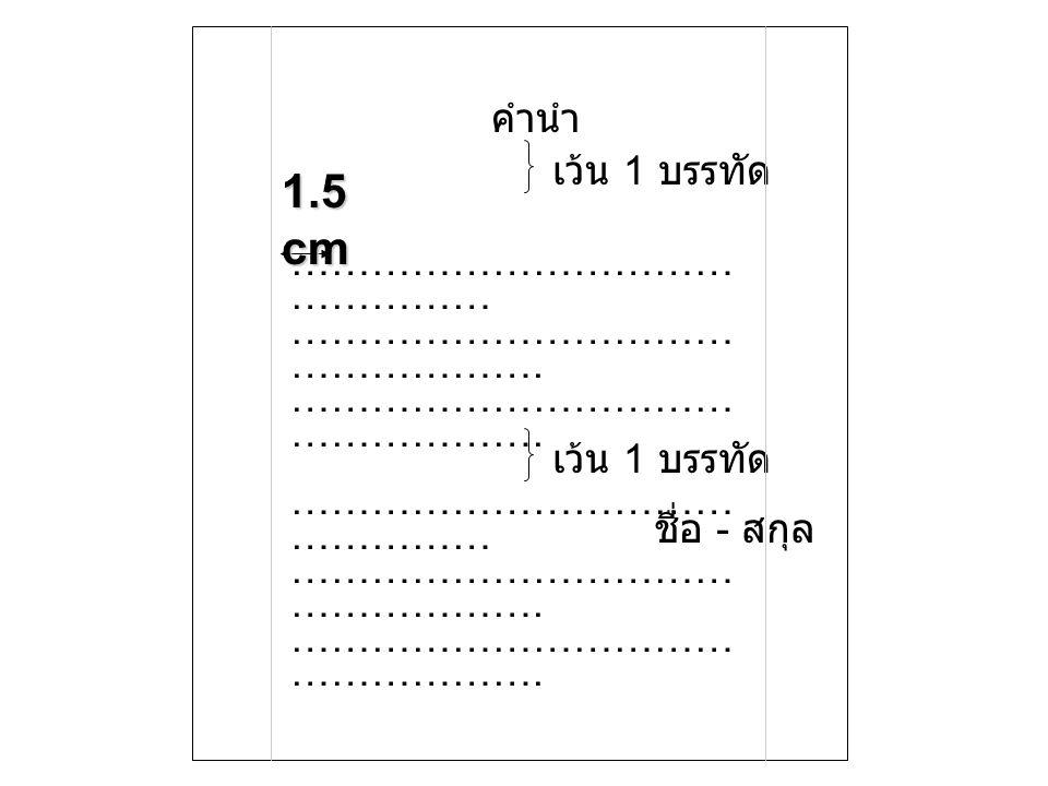 1.5 cm คำนำ เว้น 1 บรรทัด ………………………………………… …………………………………………….