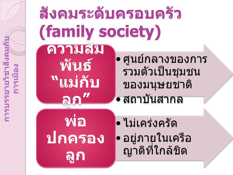 สังคมระดับครอบครัว (family society)