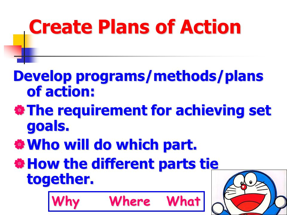 Create Plans of Action Develop programs/methods/plans of action: