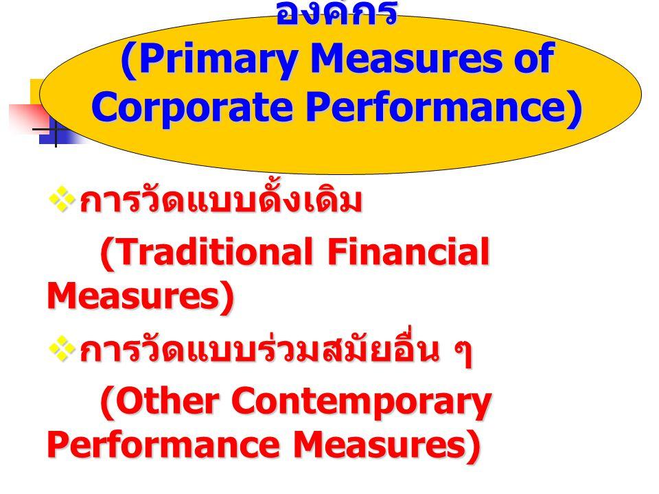 เทคนิคการวัดผลดำเนินงานขององค์กร (Primary Measures of Corporate Performance)