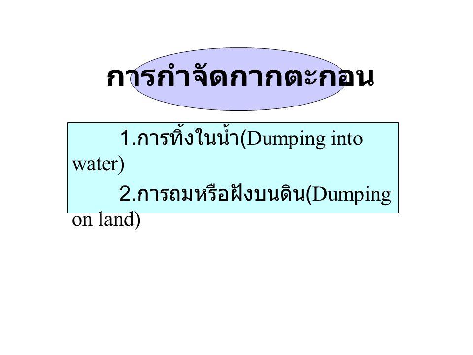 การกำจัดกากตะกอน 1.การทิ้งในน้ำ(Dumping into water)
