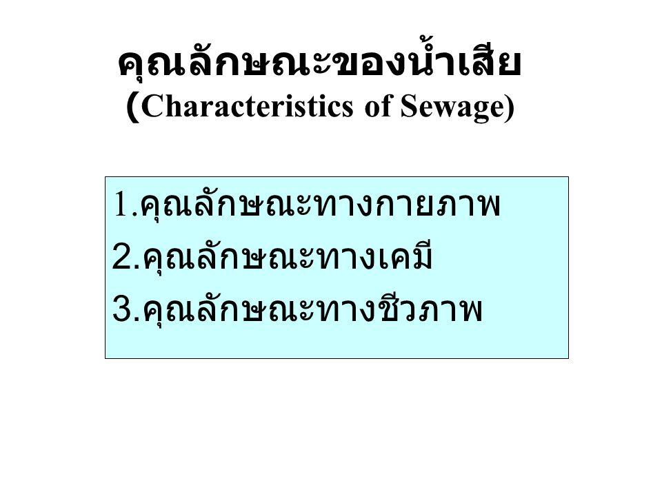 คุณลักษณะของน้ำเสีย (Characteristics of Sewage)