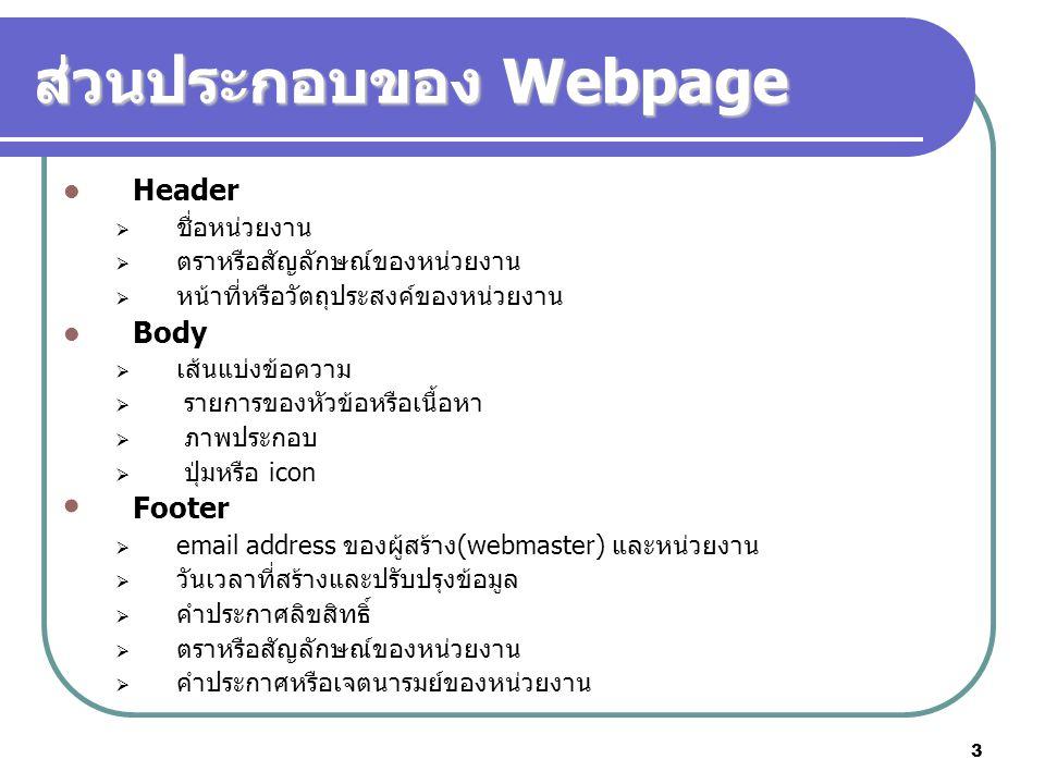 ส่วนประกอบของ Webpage