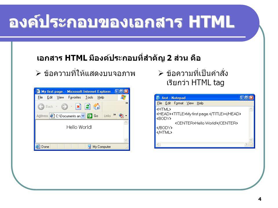 องค์ประกอบของเอกสาร HTML
