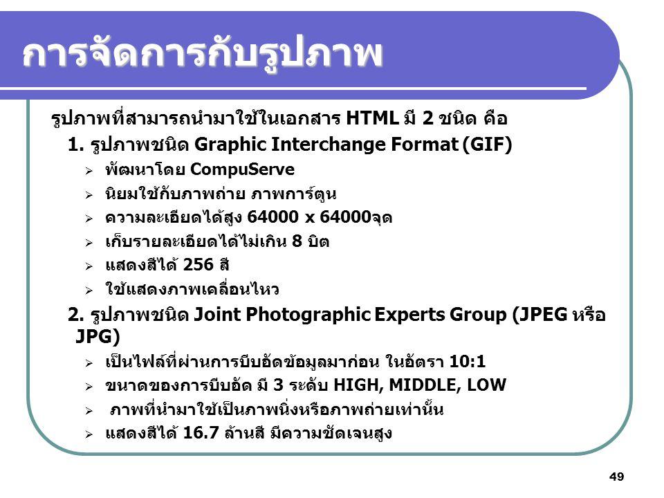 การจัดการกับรูปภาพ รูปภาพที่สามารถนำมาใช้ในเอกสาร HTML มี 2 ชนิด คือ