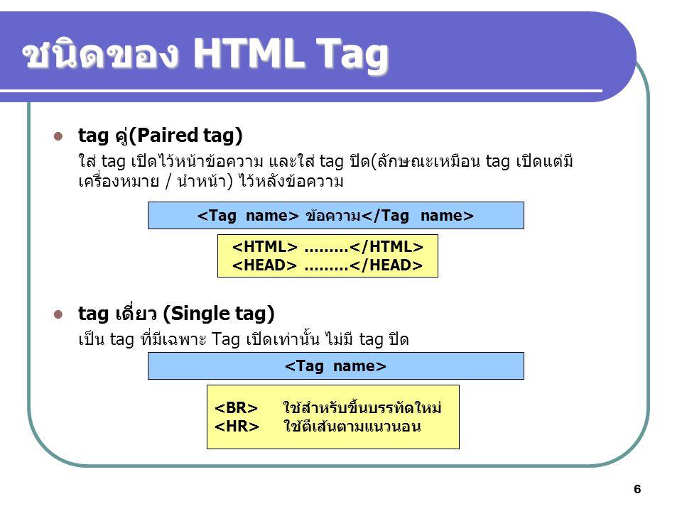 ชนิดของ HTML Tag tag คู่(Paired tag) tag เดี่ยว (Single tag)