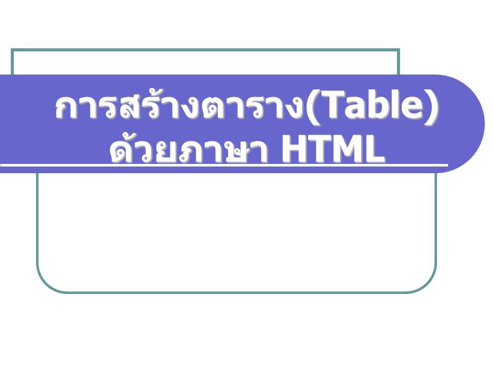 การสร้างตาราง(Table) ด้วยภาษา HTML