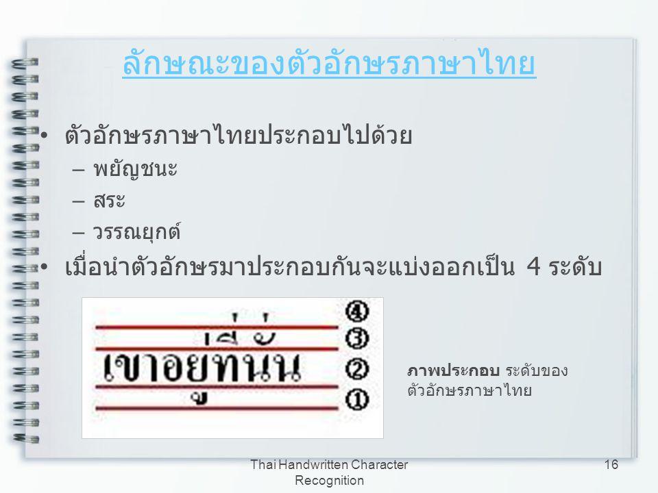 ลักษณะของตัวอักษรภาษาไทย