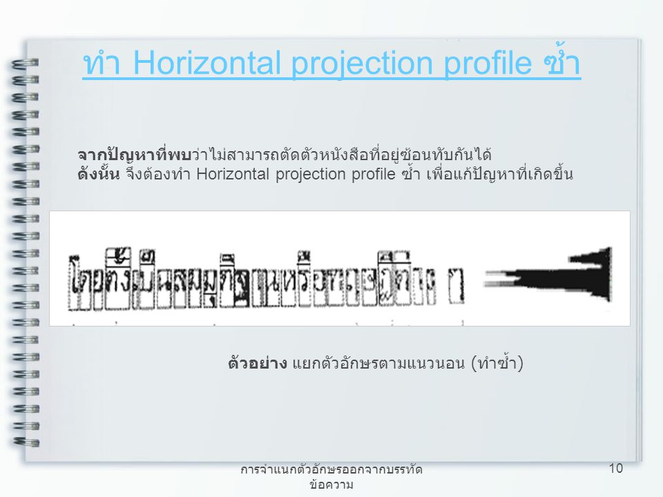 ทำ Horizontal projection profile ซ้ำ