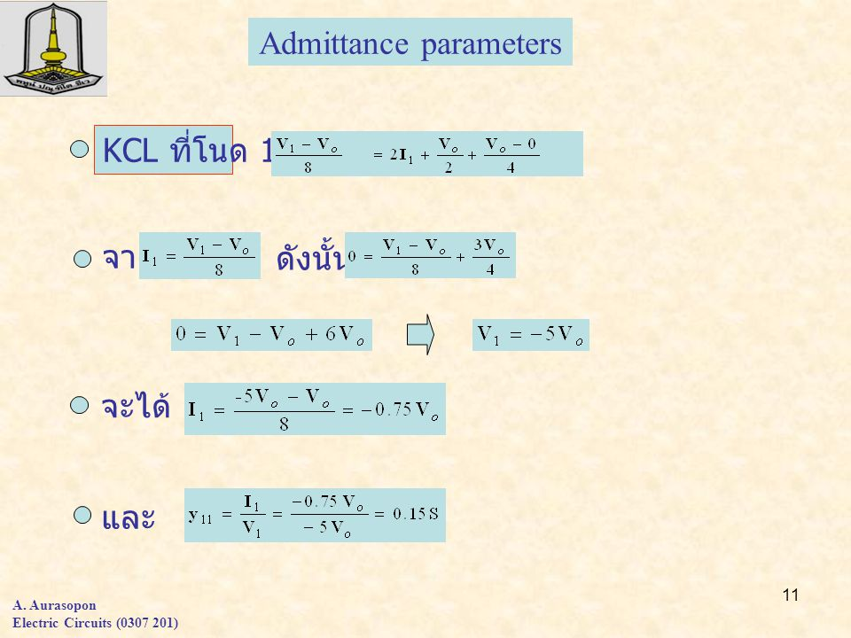 Admittance parameters