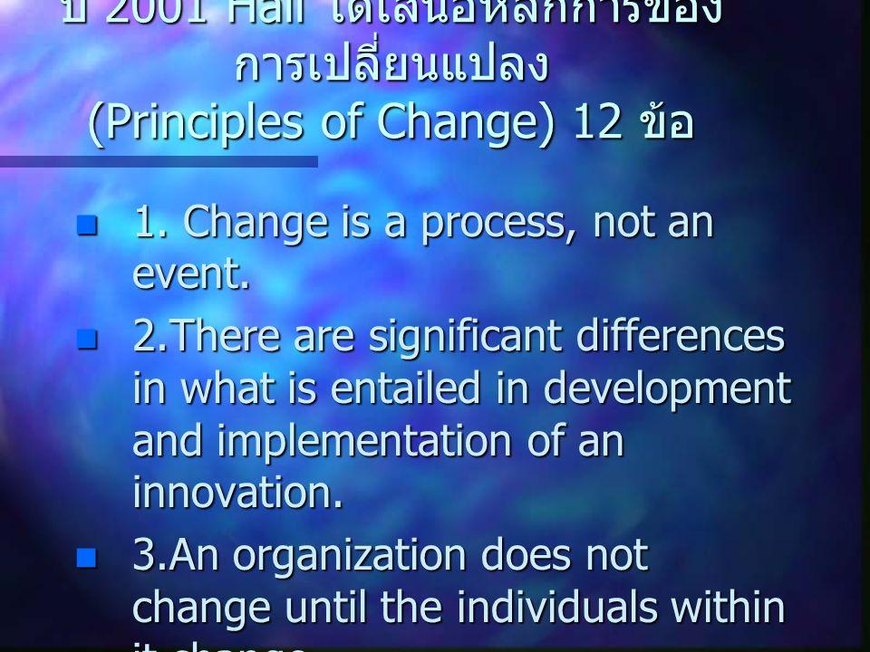 ปี 2001 Hall ได้เสนอหลักการของการเปลี่ยนแปลง (Principles of Change) 12 ข้อ
