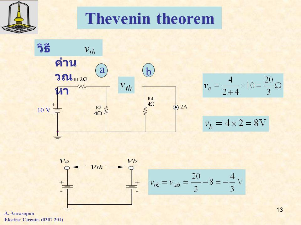 Thevenin theorem vth วิธีคำนวณหา a b A. Aurasopon