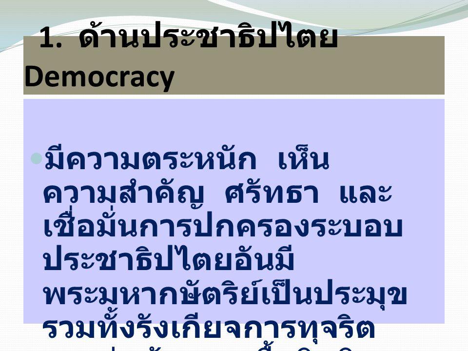 1. ด้านประชาธิปไตย Democracy