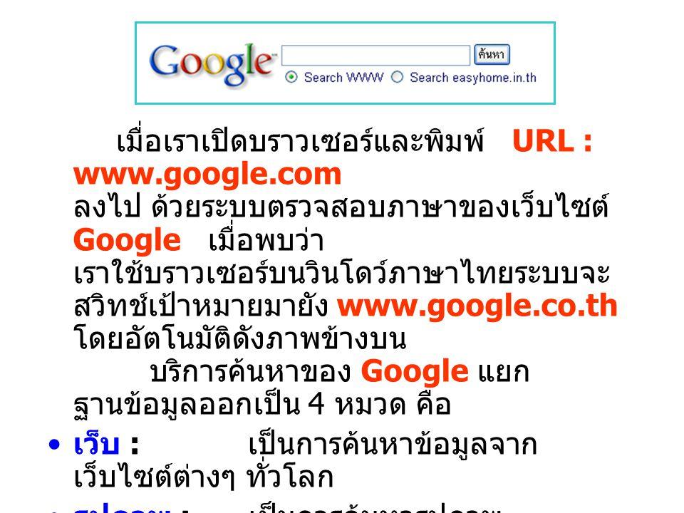 เมื่อเราเปิดบราวเซอร์และพิมพ์ URL : www. google