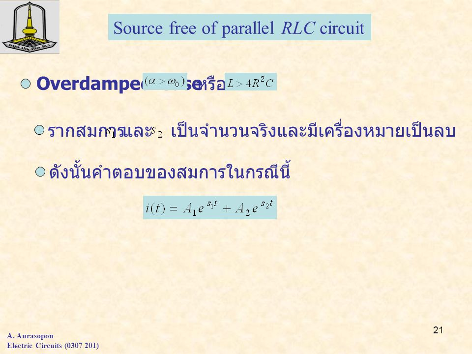Source free of parallel RLC circuit