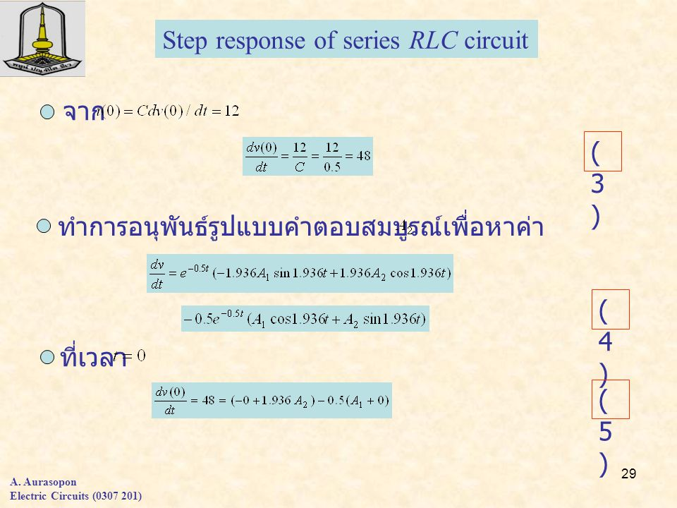 Step response of series RLC circuit