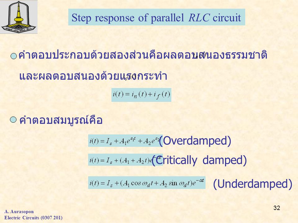 Step response of parallel RLC circuit