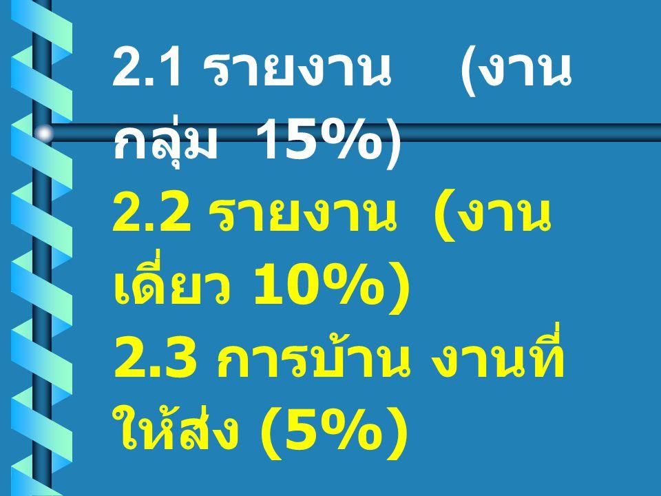 2.1 รายงาน (งานกลุ่ม 15%) 2.2 รายงาน (งานเดี่ยว 10%) 2.3 การบ้าน งานที่ให้ส่ง (5%)