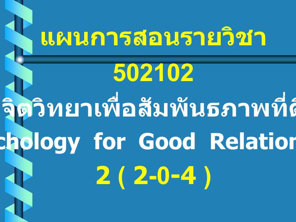 จิตวิทยาเพื่อสัมพันธภาพที่ดี (Psychology for Good Relationship)