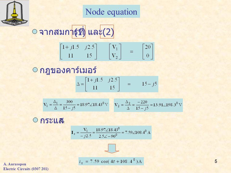 Node equation จากสมการที่ (1) และ (2) กฎของคาร์เมอร์ กระแส